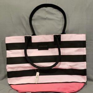 Victoria's Secret Pink & Black Striped Bag…